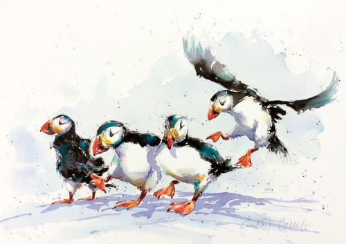 Julia Cassels, Puffin Party (Hungerford Gallery)