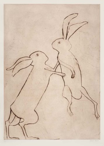 Kate Boxer, Boxing Hares (Mounted)