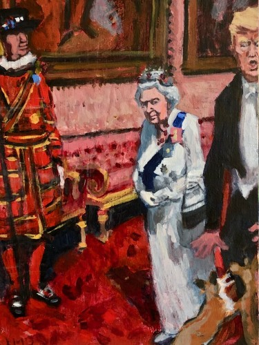 Lucy Dickens, The Queen's Corgis on meeting Trump (London Gallery)