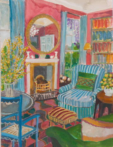Lottie Cole, Interior with Blossom and Wisteria (Hungerford Gallery)