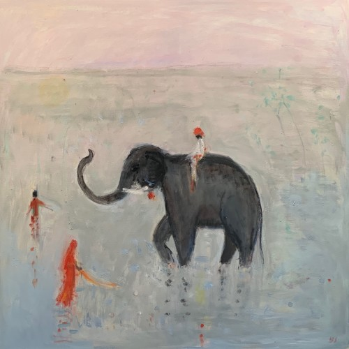 Ann Shrager, Young Boy on an Elephant (Hungerford Gallery)