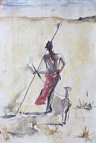 Christine Seifert, Maasai with Goat (Hungerford Gallery)