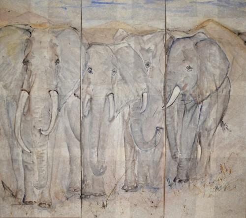 Christine Seifert, Elephants (Triptych) (Hungerford Gallery)