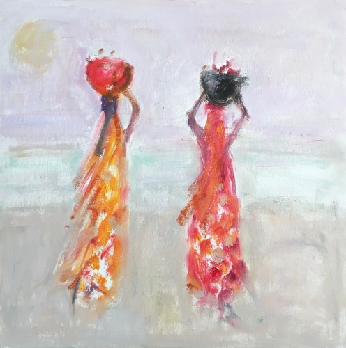 Ann Shrager, Two Ladies in Orange and Red Saris (Hungerford Gallery)