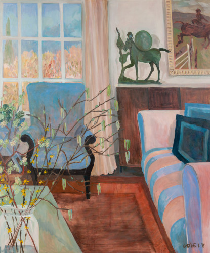 Lottie Cole, Interior with Barry Flanagan and Pink Striped Sofa (Hungerford Gallery)