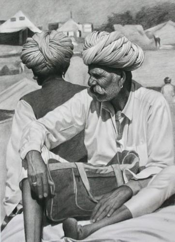 Mark Clark, Two Rajasthani Men, Pushkar Camel Fair (Hungerford Gallery)