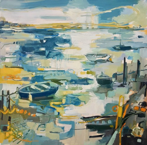 Kate Rhodes, Evening Boats on South Coast (London Gallery)