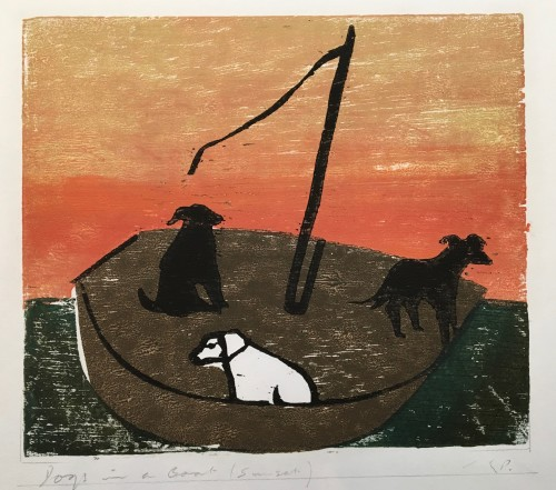 Keith Purser, Dogs in a Boat (Sunset)