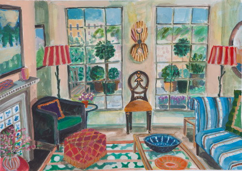 Lottie Cole, Interior Overlooking a Walled Garden (Hungerford Gallery)