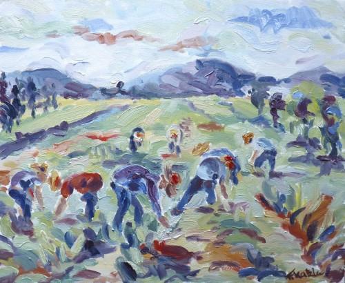 Fi Katzler, Harvesting Garlic (London Gallery)