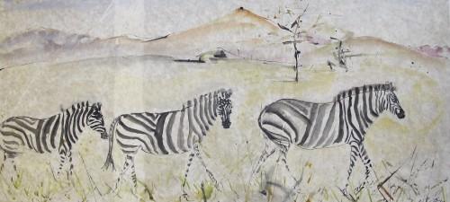 Christine Seifert, Three Zebras (Unframed) (London Gallery)