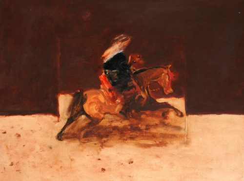 Antoine de La Boulaye, Orientalist Horseman - Brown Background (Hungerford Gallery)