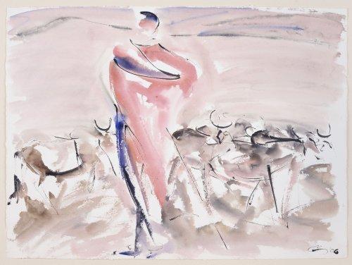 Christine Seifert, Maasai and Herd (Unframed) (Hungerford Gallery)