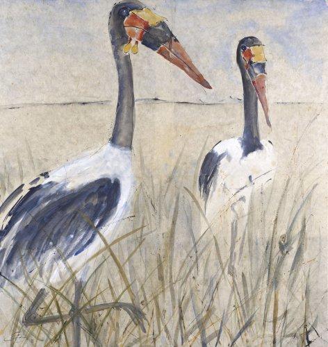 Christine Seifert, Two Saddle-Bill Storks (London Gallery)