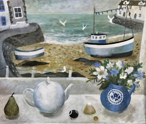 Sarah Bowman, Summer Flowers and Teapot (Hungerford Gallery)