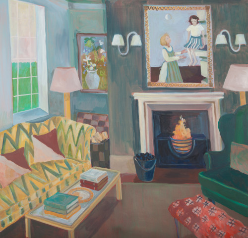 Lottie Cole, Interior with Yellow Sofa and Mother and Daughter Painting (London Gallery)