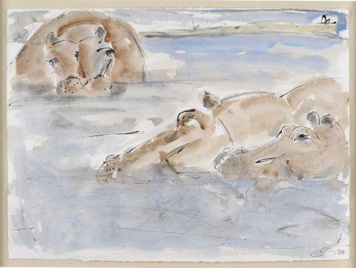 Christine Seifert, Hippos Bathing (Framed) (London Gallery)