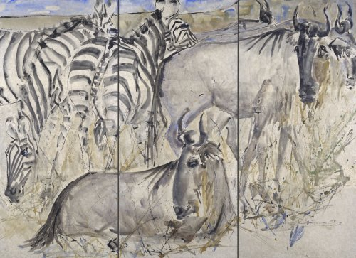 Christine Seifert, Gnus and Zebra (Triptych) (London Gallery)
