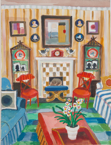 Lottie Cole, Interior with Pair of Owls and a Pansy Orchid (Hungerford Gallery)