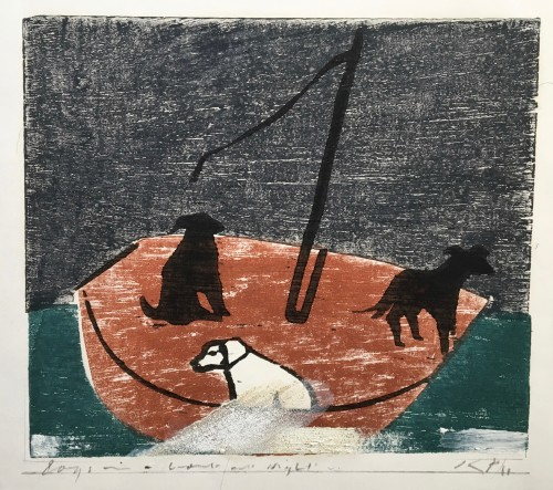 Keith Purser, Dogs in a Boat (Night) (London Gallery)