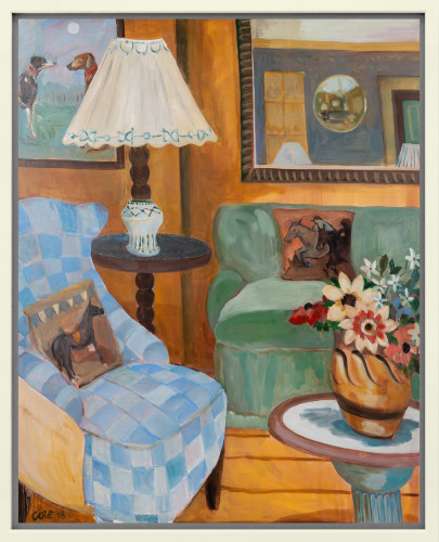 Lottie Cole, Interior with Blue Armchair, Duncan Grant Ceramic Vessel & Christopher Wood flowers (London Gallery)