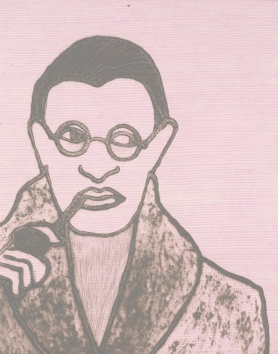 Kate Boxer, Jean Paul Sartre (Mounted)