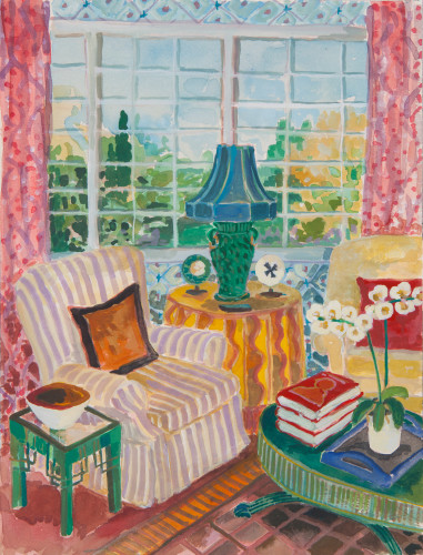Lottie Cole, Interior with Green Chinese Lamp and White Orchid (Hungerford Gallery)