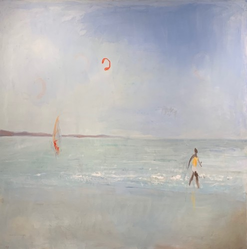 Ann Shrager, Windsurfer, Kite and Man by the Sea (Hungerford Gallery)