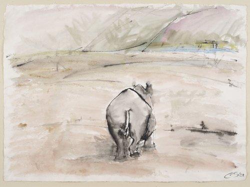 Christine Seifert, Hippo walking away (Unframed)
