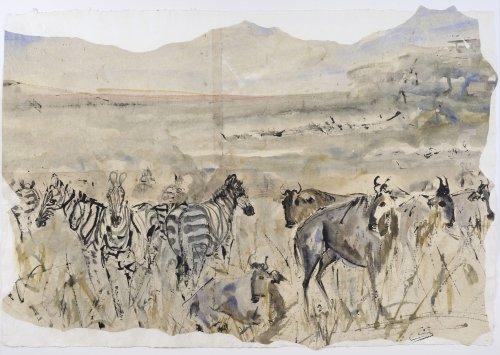 Christine Seifert, Zebra and Wildebeast (Unframed)