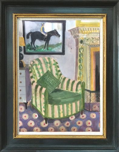 Lottie Cole, Interior with Jockey and Silk Chair (Hungerford Gallery)