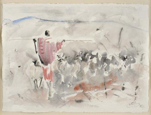 Christine Seifert, Maasai with Herd (Framed)