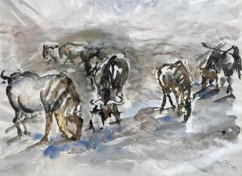 Christine Seifert, Wildebeests drinking at waterhole (Hungerford Gallery)
