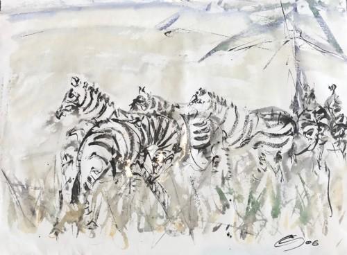 Christine Seifert, Zebra Herd (Hungerford Gallery)