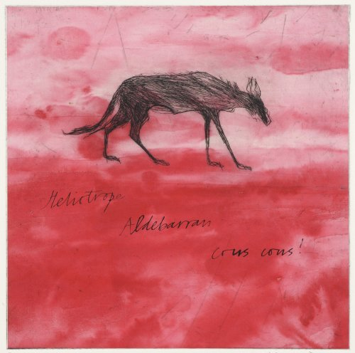 Kate Boxer, Wolf on Red (Mounted)