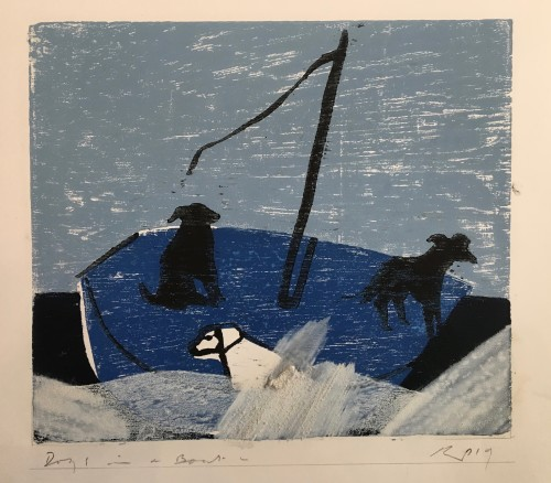 Keith Purser, Dogs in a Boat (Blue) (London Gallery)