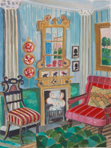 Lottie Cole, Interior with Painted Fire Screen and Green Ottoman