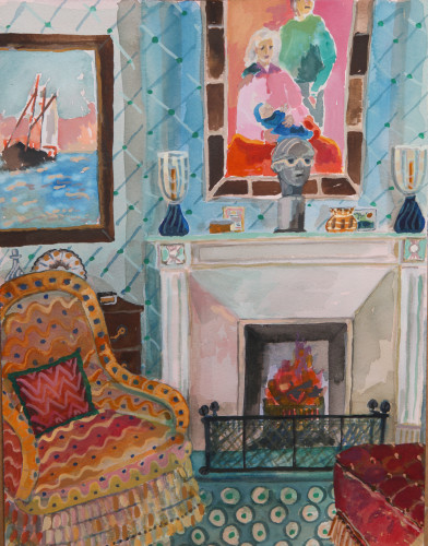 Lottie Cole, Interior with Maritime Scene (Hungerford Gallery)
