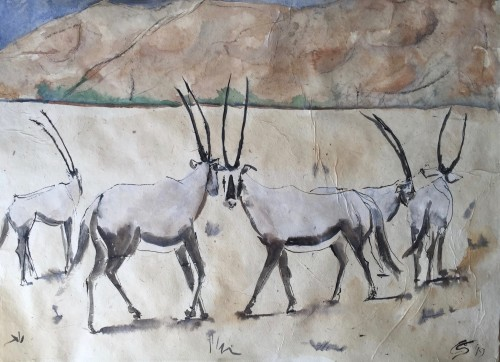 Christine Seifert, Arabian Oryx Herd (Hungerford Gallery)