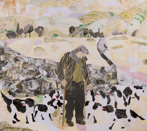 Dione Verulam, One Man and his Dogs in Snow