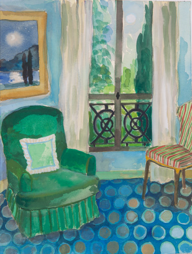 Lottie Cole, Interior with Green Armchair and Moonlight Lake Painting (Hungerford Gallery)