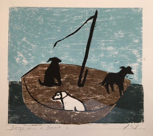 Keith Purser, Dogs in a Boat (Blue/Green)