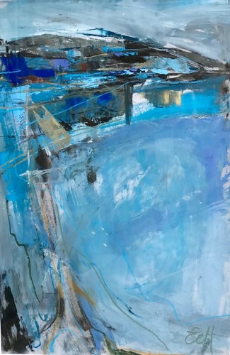 Emma Haggas, Abstract Landscape in Blue (Hungerford Gallery)