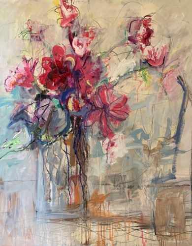 Annie Field, Pink Flowers (Hungerford Gallery)