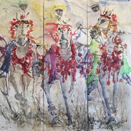 Christine Seifert, Abyssinian Gallop Triptych (Hungerford Gallery)