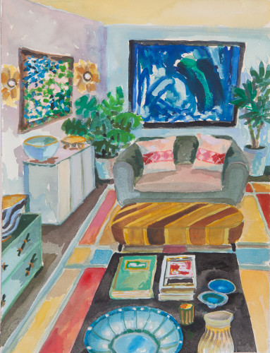 Lottie Cole, Interior with Two Howard Hodgkin Paintings (London Gallery)