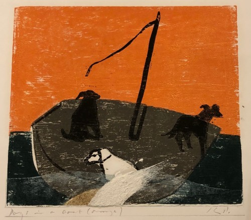 Keith Purser, Dogs in a Boat (Orange) (Hungerford Gallery)