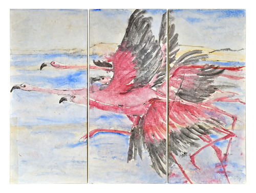 Christine Seifert, Flamingos Triptych (Hungerford Gallery)
