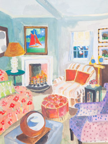Lottie Cole, Seaside Interior with Barbara Hepworth Table Sculpture (Hungerford Gallery)