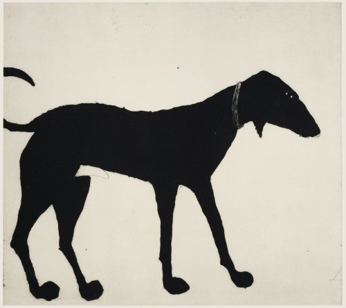 Kate Boxer, Black Dog (Mounted)